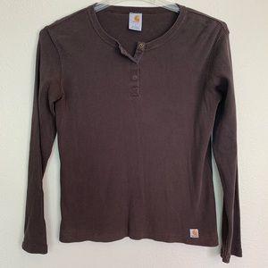Carhartt Brown Women's Long Sleeve Shirt Large